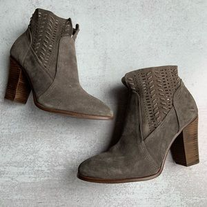 Vince Camuto Suede Laser Cut Ankle Booties